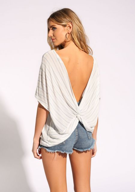 White Pinstripe Low Back Twisted Blouse