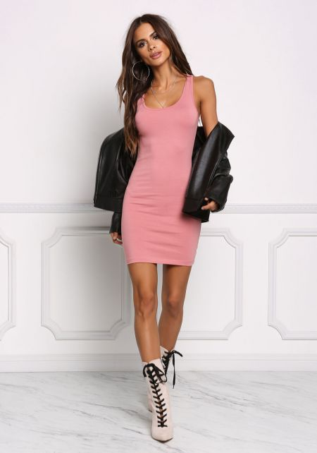 Dusty Pink Jersey Knit Basic Dress