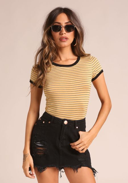 Yellow Outlined Stripe Tee