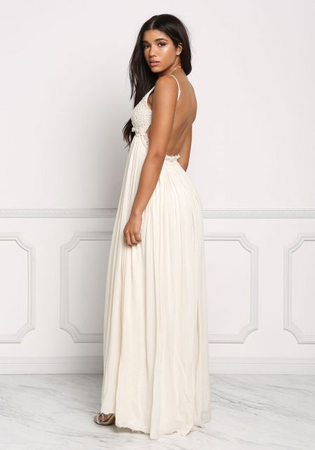 Cream Open Back Crochet Gathered Maxi Dress