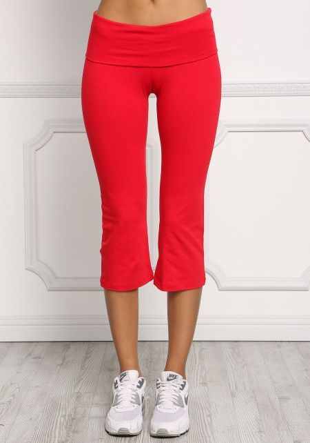 Red Yoga Stretch Capri Pants
