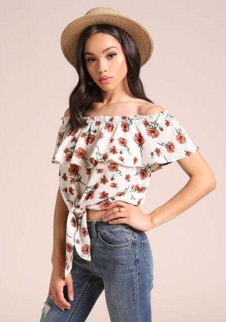 Cream Floral Off Shoulder Tie Front Crop Top
