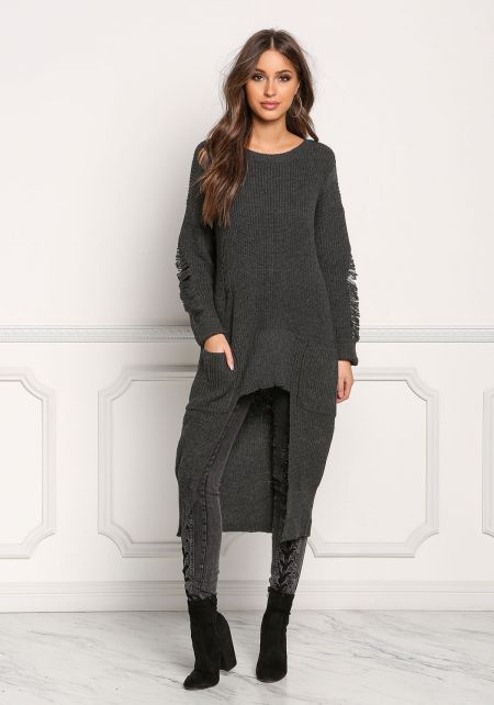 Charcoal Frayed Hi-Lo Sweater Top