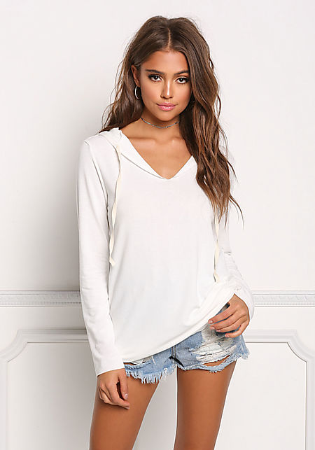 Ivory Hooded Drawstring Sweater Top