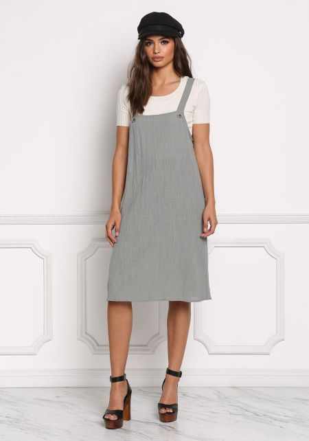 Sage Crepe Overalls Shift Dress