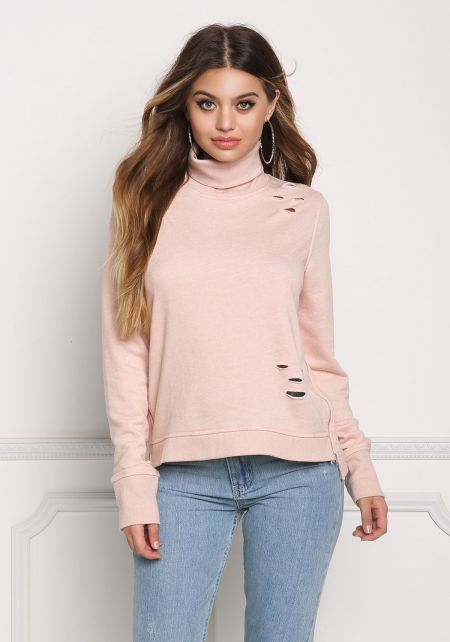 Blush Turtleneck Distressed Sweater Top