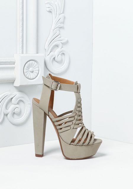 Grey Leatherette Multi Strap Heels