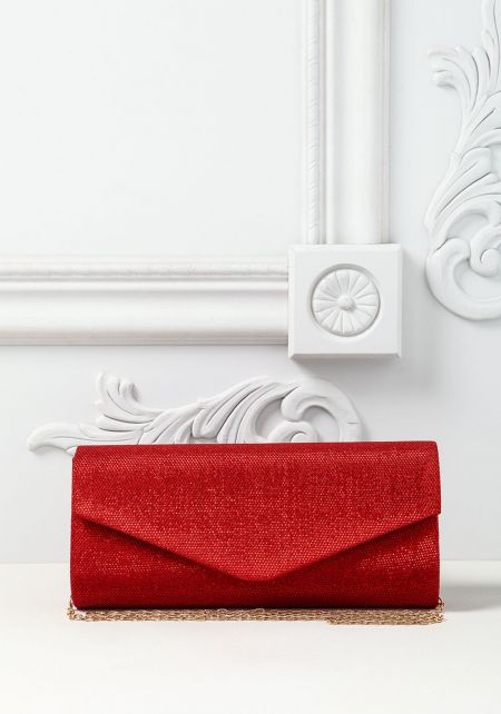 Red Shimmer Envelope Clutch