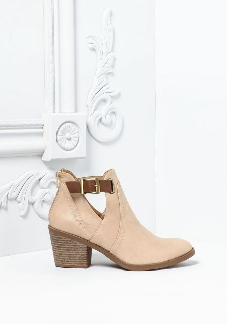 Beige Leatherette Cut Out Buckle Strap Booties