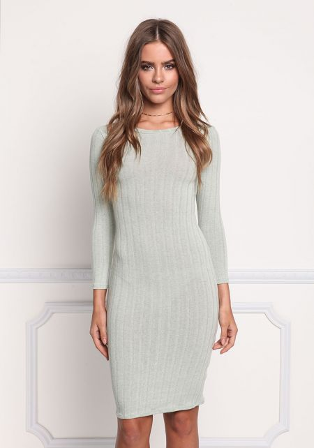 Sage Basic Ribbed Knit Bodycon Dress