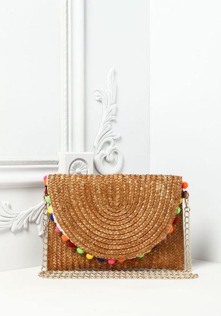 Brown Pom Pom Straw Crossbody Bag