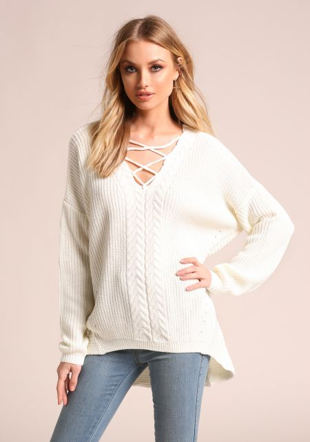 Ivory Cross Strap Hi-Lo Knit Sweater Top