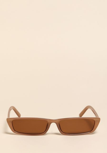 Brown Skinny Rectangular Sunglasses