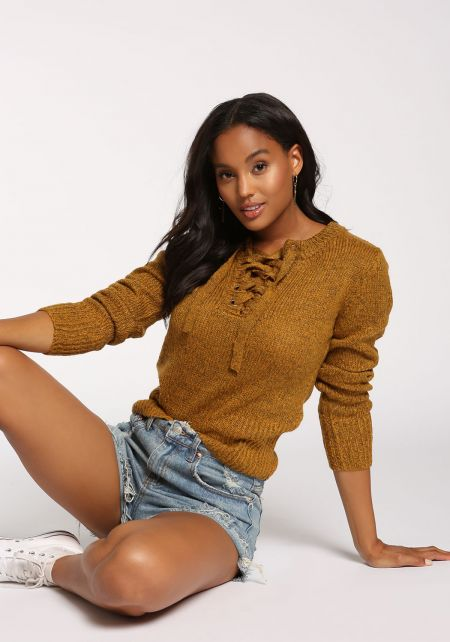 Mustard Lace Up Sweater Top