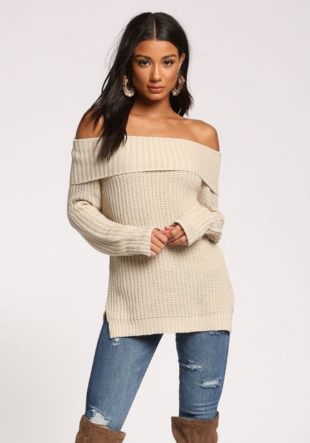 Oatmeal Fold Over Thick Knit Sweater Top