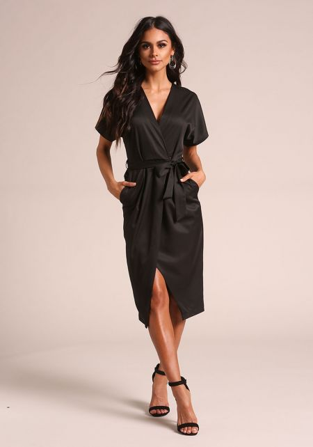 Black Satin Faux Wrap Waist Tie Dress