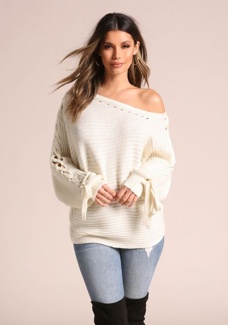 Ivory Sleeve Lace Up Off Shoulder Sweater