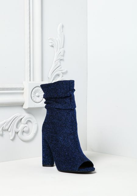 Royal Blue Sparkle Peep Toe Booties