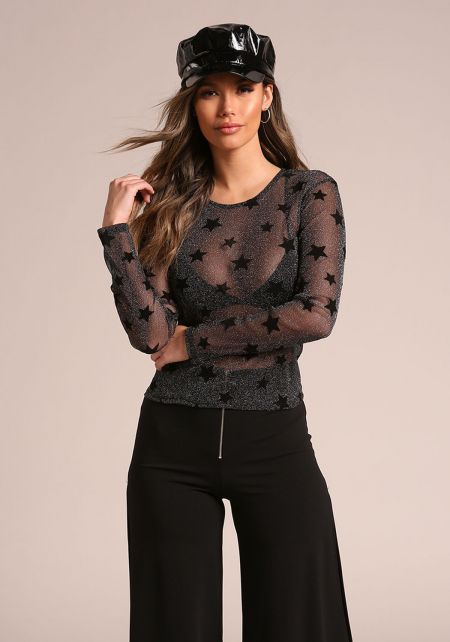 Black Metallic Sheer Star Top