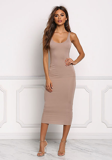 Mocha Midi Bodycon Dress
