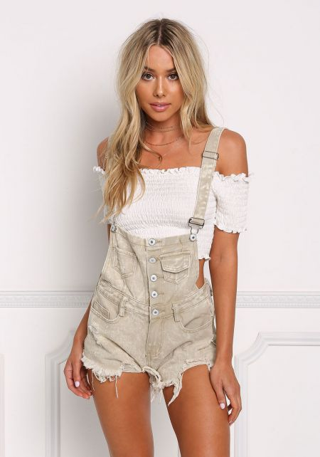 Khaki Distressed Button Up Shorts Overalls