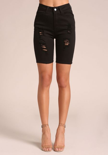 Black Distressed Denim Bermuda Shorts