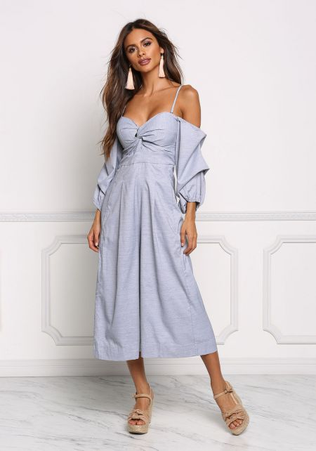 Blue Twisted Cold Shoulder Ruched Sleeve Jumpsuit
