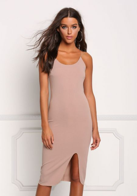 Taupe Double Strap Slit Bodycon Dress