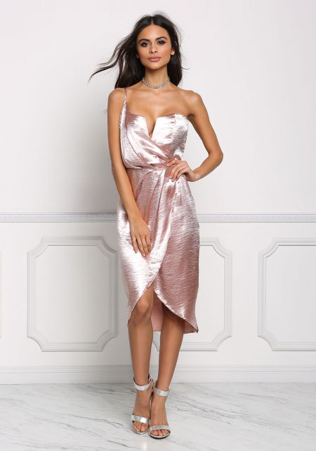 Blush Silky One Shoulder Surplice Dress