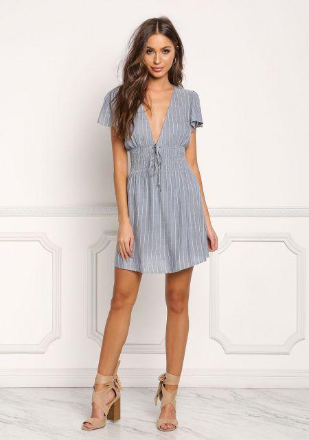 Blue Pinstripe Plunge Smocked Waist Dress
