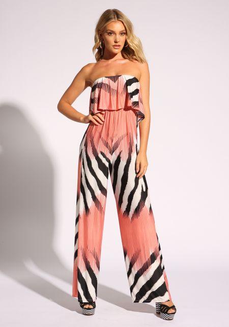 Pink Zebra Layered Strapless Jumpsuit