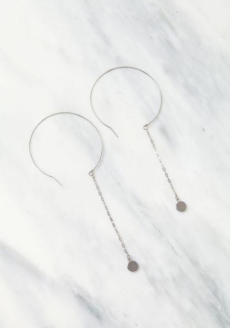 Silver Hoop Thin Chain Earrings
