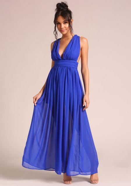 Royal Blue Gathered Cross Strap Maxi Dress