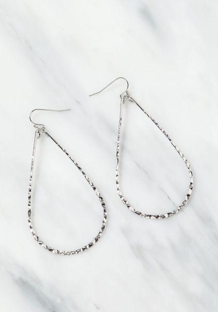 Silver Textured Teardrop Earrings