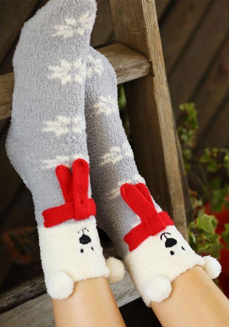 Grey Bear Snowflake Plush Socks