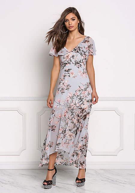 Dusty Blue Chiffon Floral Cross Strap Maxi Dress