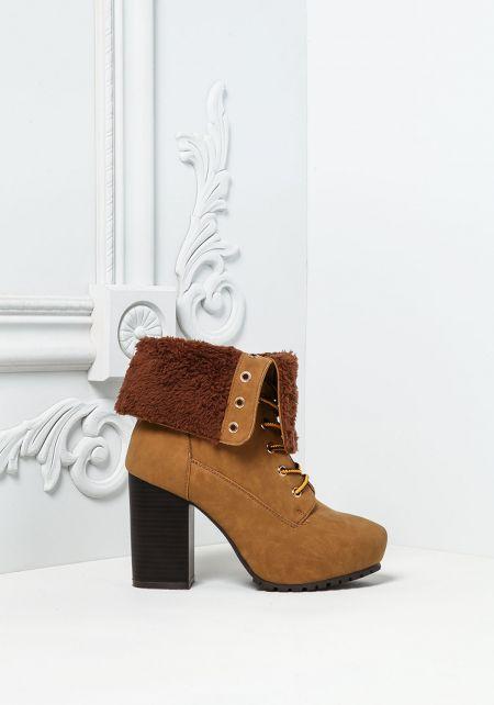 Camel Suedette Faux Fur Fold Over Platform Boots