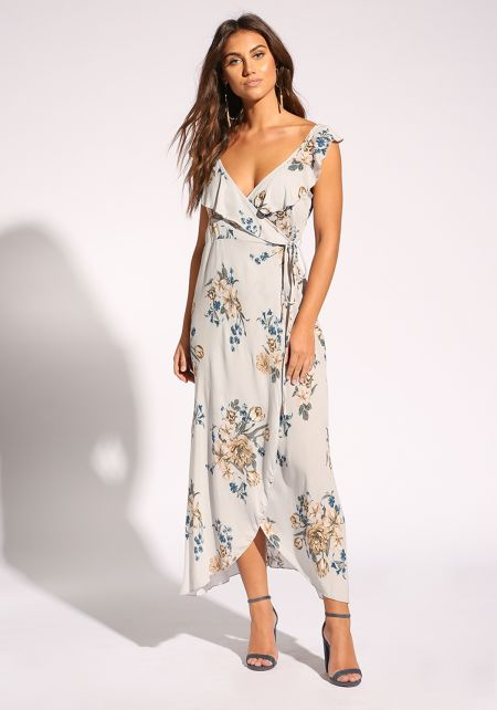 Grey Floral Crepe Wrap Maxi Dress