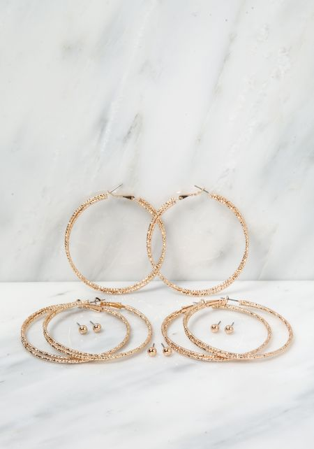 Gold Stud & Hoops Assorted Earrings Set