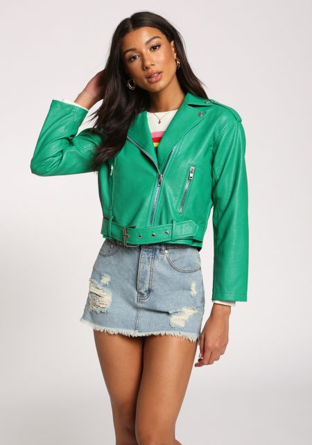 Green Faux Leather Belted Moto Jacket