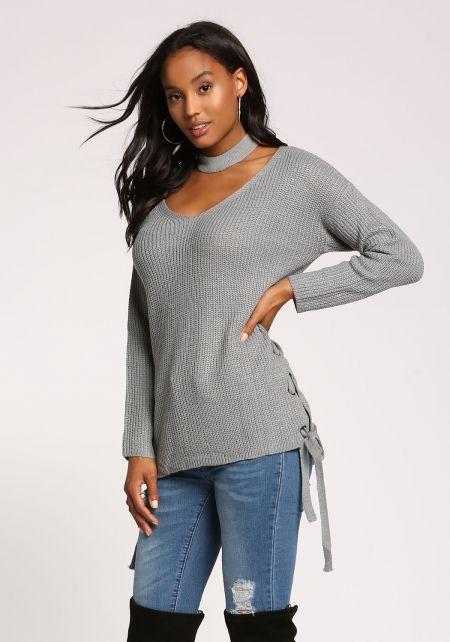 Dusty Blue Choker Side Lace Up Sweater Top