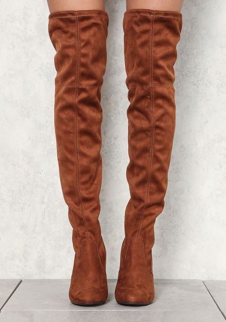 Brown Over The Knee Suedette Boots