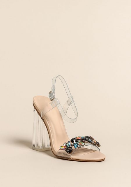 Clear Rhinestone Gem Ankle Strap Heels