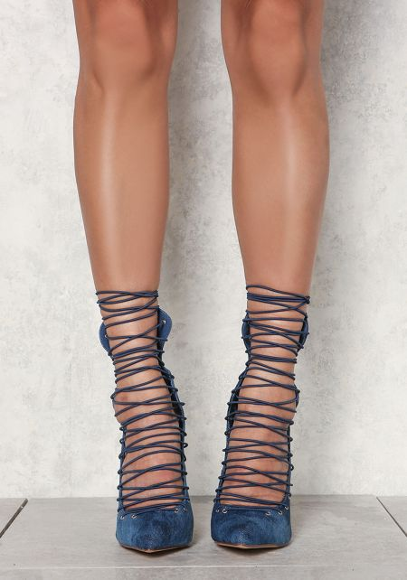 Denim Lace Up Pointed Toe Heels