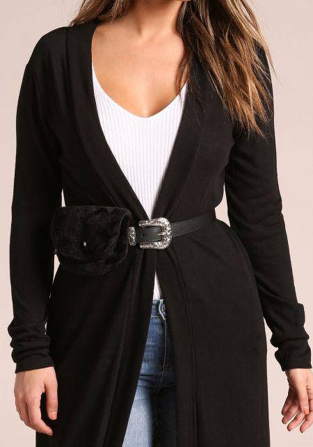 Black Leatherette Faux Fur Fanny Belt