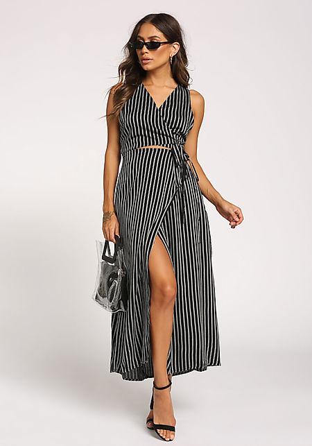 Black Tie Front Slit Wrap Maxi Dress