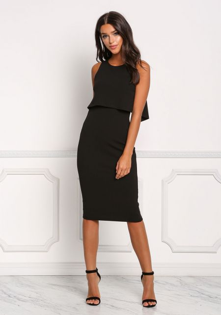 Black Layered Back Cut Out Bodycon Dress