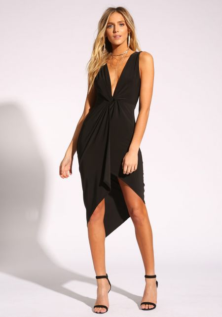 Black Plunge Twisted Bodycon Dress