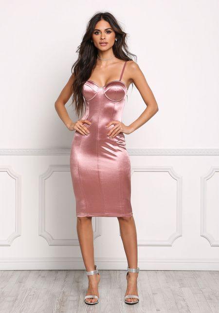Mauve Satin Bustier Bodycon Dress