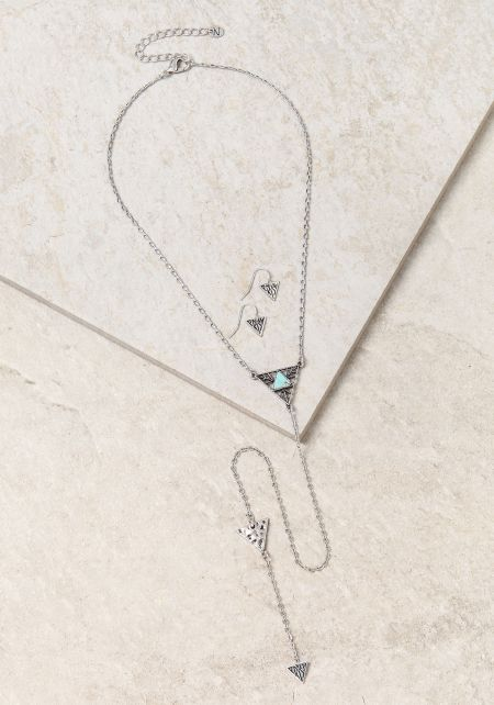 Silver Long Triangle Drop Necklace